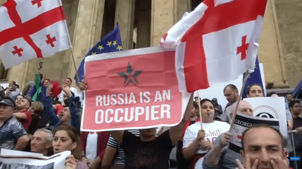 Georgia protests: Thousands storm parliament over Russian MP's speech