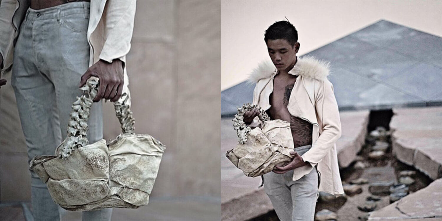 Arnold Putra, an Indonesian designer, has ruined all ideas about the fucking world of fashion accessories! His avant-garde style men's clothing brand began selling bags made from raw alligator tongue and human spine.